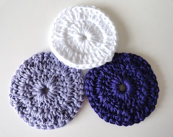 Cotton Face Scrubbies, Set of 3 in Lavender Purple and White