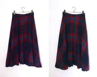 Vintage 1970s navy plaid bias-cut midi skirt / seventies checked wool tartan skirt - extra small
