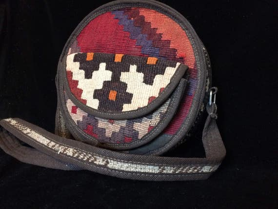Round Kilim Shoulder Bag, vintage hand Woven kilim bag, Bohemian Style, Bohemian gift for him, vintage kilim