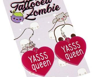 Hot Pink acrylic YASSS QUEEN Heart Drag Earrings