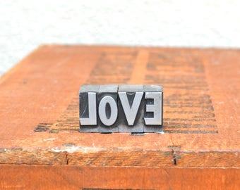 LOVE - Vintage letterpress metal type - Valentine's day gift - wedding, anniversary, love, girlfriend, boyfriend, industrial TS1025