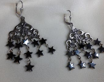 Dangle earrings hematite stars