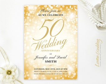 Gold sparkle wedding anniversary invitations | Golden wedding | 50th anniversary invitation | Birthday invitations