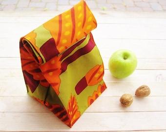 Marimekko lunch bag reusable tote box sack snack food bag storage basket soft cotton orange green brown trees dot foldaway Father's Day gift