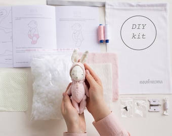 Pink Plush Bunny 7 Inches DIY Kit Stuffed Animal Sewing Kit Easter Bunny Craft Kit Mohair Rabbit Soft Toys Crafter Gift Ready To Ship