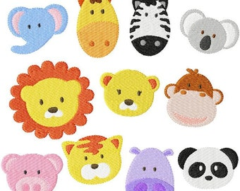 Instant Digital Download Set of eleven for 4X4 hoop Zoo & Jungle Baby Face Filled Machine Embroidery Designs