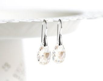 Minimalist crystal earrings Clear earrings Sterling silver earrings Minimalist silver earring SWAROVSKI crystal earring Teardrop earring 769