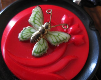 """Vintage Button """"Butterfly Bloom"""" Necklace in Black, Red and Green"""