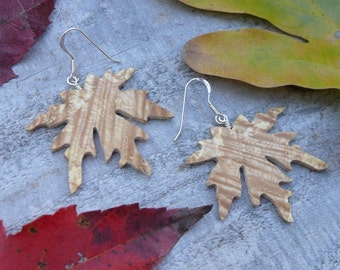 Wood earrings, Leaf earring, Maple leaf earrings, Sterling silver leaf earrings, Maple Leaf Jewelry, Earthy earrings, Dangle drop earrings
