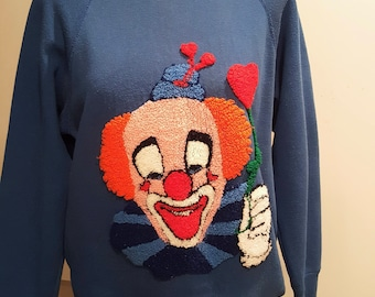 Crewel Clown Derby Hat Heart Balloon Finished Sweatshirt Royal Blue Tultex Vtg