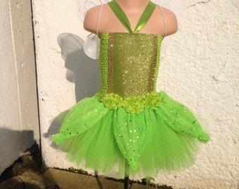 Tinkerbell tutu, fairy tutu, green sparkle fairy, tinkerbell dress, tinkerbell costume, fairy dress, fairy costume, fairy wings