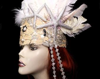 Mermaid Queen Crown Headdress Nautical Ocean Hat Sea Nymph Headpiece Seashell Sequin Feather