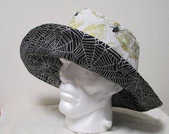 """Bucket Hat 26"""" XXLarge Halloween Hat, Skull hat, spiders,  spider webs,  golden skulls"""