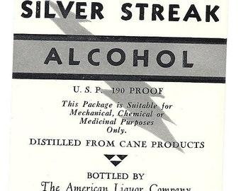 Paco Silver Streak Vintage Alcohol Label, 1930's
