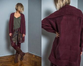 80s vintage cardigan | unique detail | knitted | women | plum | cupro | pocket | shawl collar | spring