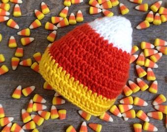 Baby Candy Corn Hat, Crochet Candy Corn Hat, Newborn Candy Corn Photo Prop, Halloween Photo Prop, Fall Photo Prop,