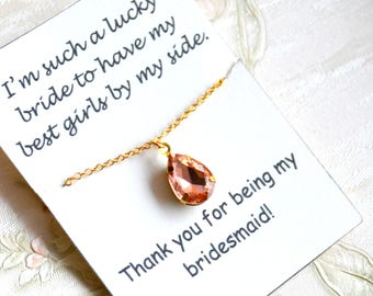 Personalized bridesmaid necklace Peach bridesmaid necklace Peach jewelry Bridesmaid jewelry Wedding Bridesmaid gifts Light pink crystal