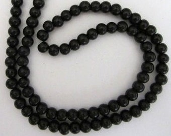 1 Strand Black Pearlized Glass Beads 5mm