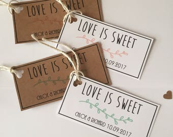 Love is Sweet Tags, Wedding Favour Tags, Wedding stationary, Gift Tags, Rustic Wedding Stationary,