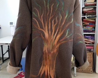 Fleece felted swing jacket
