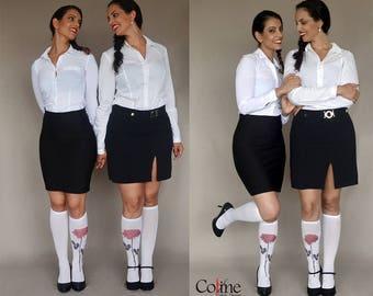 Printed Knee High  Socks with Rose, Hand Printed Nylon Socks, One Pair