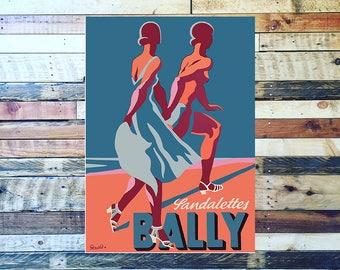 Bally Sandalettes Vintage Shoe Ad, Vintage Fashion Ad, Vintage Art, Giclee Art Print, fine Art Reproduction