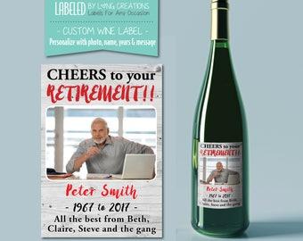 retirement wine label - wine sticker - retirement gifts - custom wine label - personalized retirement gift -  co-worker gift - waterproof