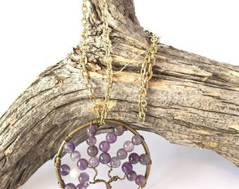 Tree of Life Pendant, Amethyst Necklace, Wire Wrapped Tree, Reiki Pendant, Tree Pendant, Tree Necklace
