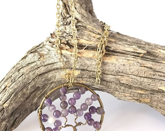 Tree of Life Pendant, Amethyst Necklace, Wire Wrapped Tree, Reiki Pendant, Tree Pendant, Tree Necklace, Reiki Gifts, Crown Chakra