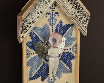 Blue Star House:  mixed media collage, assemblage art, recycled materials,  upcycled art,  salvaged art, feminine art by Leslee Lukosh