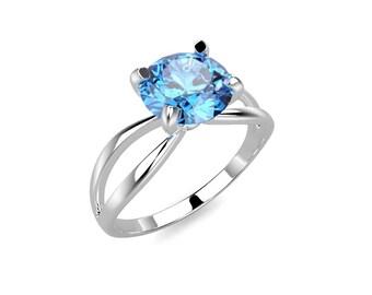 Blue Topaz Engagement Ring White Gold Engagement Ring Blue Topaz White Gold White Ring Gold Blue Topaz Ring December Birthstone Ring