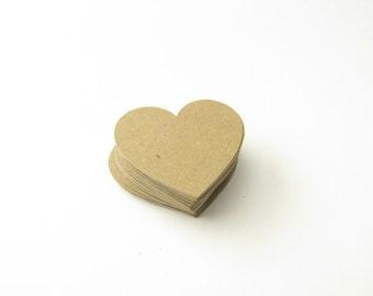 Kraft Paper Hearts - Heart Confetti - Die Cut Hearts - Die Cut Confetti - Rustic Wedding Confetti - Barn Wedding Confetti - Table Scatter