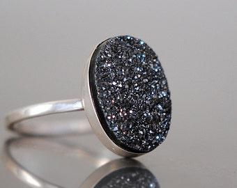 Druzy Ring, Black Druzy, Oval Drusy, Sterling Silver, Drussy, Drusy, Statement Ring, Handcrafted, Round, Iridescent, Quartz.