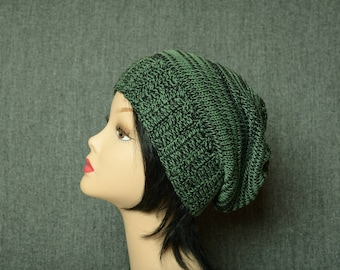 Summer green beanie, crochet slouchy hat, women's gift, cotton headdress, boho beanie, ribbed crochet hat