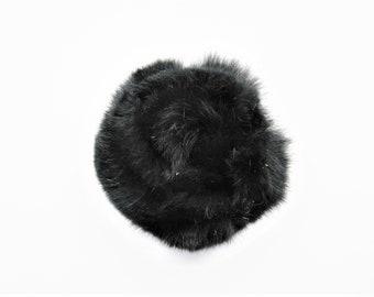 Application flower brooch made of fur black rabbit fur - ref 13B