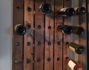 Rustic wood wine rack