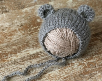 Baby bear hat, 10 COLORS, newborn mohair hat, baby girl hat, baby boy hat, new born photo prop, photography