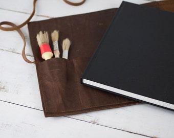 Refillable Artist Sketchbook - Rustic Leather Sketchbook Case