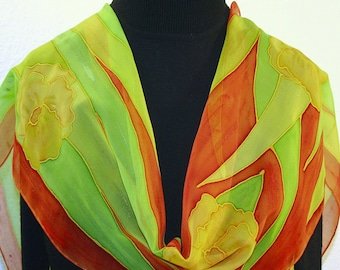 Silk Scarf Handpainted Yellow Orange Lime Handmade Silk Wrap LIME BREEZE, Silk Scarves Colorado. Select Your SIZE! Birthday, Christmas Gift