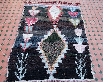 "4'7""x3'5"" Vintage Boucherouite Rug, Moroccan Rug, Nursery Rug, Geometric Rug, Rag Rug, Bohemian Rug, Boho Decor, Abstract Art"