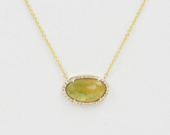 Simple Natural Sapphire Necklace/Sapphire Diamond Halo Necklace/3.5CT. Yellow Sapphire Diamond Necklace/Solid 14k Yellow Gold Necklace