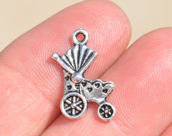 10  Silver Baby Buggy Charms SC1180