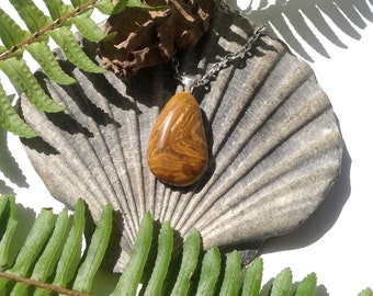 Petrified Wood - Fossil Pendant - Natural Jewelry - Gemstone Jewelry - Petrified Wood Agate - Tumbled Fossil Wood - Bellata, NSW, Australia