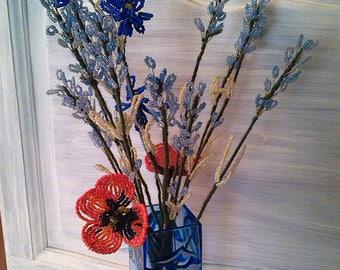 Blue flower beaded bouquet.  H 50 cm.  11 stems degraded. 2 red poppy, cornflower blue 1 stem. Gift. Any occasion.