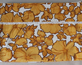 Vintage Wabasso Cotton Retro Twin Sheet Flower Power Hibiscus