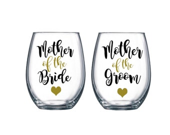 1 Mother of the bride wine glass, Mother of the groom wine glass, Mother of the bride gift, Mother of the Groom gift, Parent glasses,