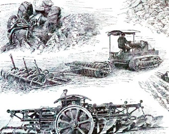 1910 French Steel Engraving Farming Equipment, Antique Print Agriculture, Motorized Tractors Tillers, Antique Original Print, Decor, Art