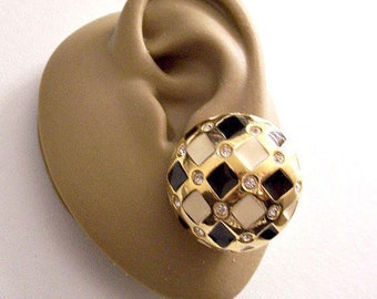 Black Beige Crystal  Harlequin Clip On Earrings Gold Tone Vintage Diamond Pattern Basketweaved Crossed Bands Round Stones Clear Pads