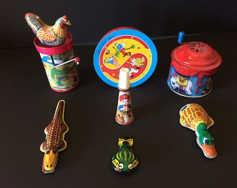 Vintage Noisemakers, Tin Noisemakers, Set of Seven - 1970