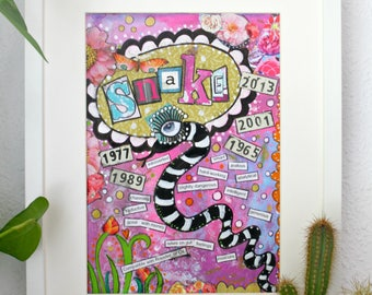 Chinese astrology year of the Snake art print.